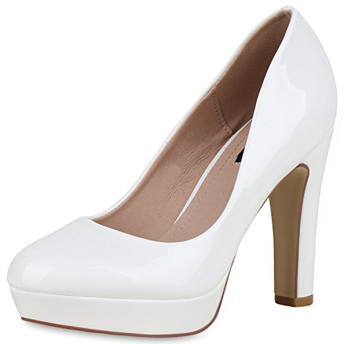SCARPE VITA Damen Plateau Pumps Lack High Heels Stiletto Party Abendschuhe 162775 Weiss Lack 39