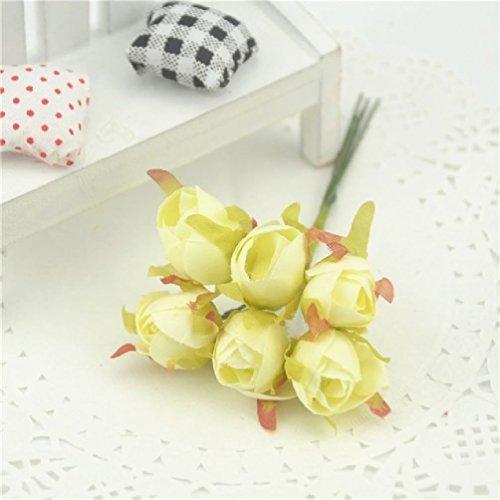 Suyunyuan Flowers 60pcs/Lot Seide Rose Künstlicher Blumenstrauß für Hochzeiten Home Dekoration Hochzeit Flores Zubehör Fake Bud Blumen One Size Milchweiß