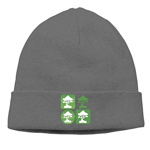 ASKYE Bonsai Tree Icon Knit Hats for Men and Women Winter Warm Slouchy Skull Hat Icon Knit Visor Beanie