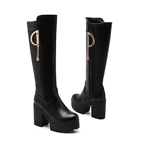 AllhqFashion Damen Hoher Absatz Blend-Materialien Knie Hohe Rein Ziehen auf Stiefel, Schwarz, 39