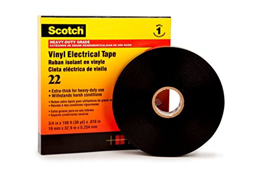 3M 223833 Scotch Vinyl Elektro-Isolierband, 38 mm x 33 m, 0,25 mm, Schwarz