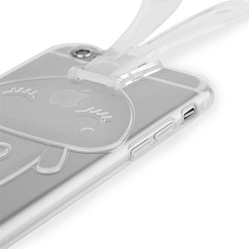 EGO  Transparent Silikon TPU 3D Schutz Hülle für iPhone 6 6S Pink Hasenohren Back Slim Case Crystal Soft Ultra Dünn Bunny Hase durchsichtig + Glas