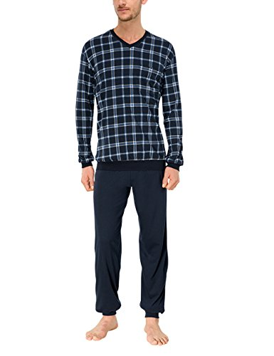 Schiesser Herren Schlafanzug lang mit Bündchen Zweiteiliger, Blau (blau 800), Gr. L (Herstellergröße:106)