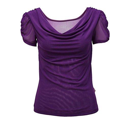 Byjia Robe De Danse Latine Danse Carrée Avec Chemise À Manches Courtes Purple