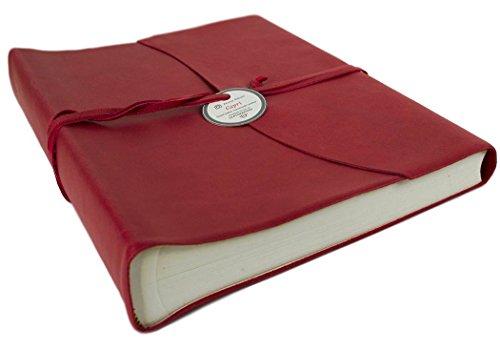 LEATHERKIND Capri Leder Fotoalbum, Large Ziegelrot - Handgefertigt in Italien - Ziegelrot Leder
