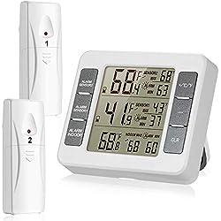 Sans fil Thermomètre de réfrigérateur réfrigérateur Thermomètre digital avec 2pcs capteurs sans fil avec alarme sonore pour intérieur ou extérieur avec écran LCD facile à lire (batterie non inclus)