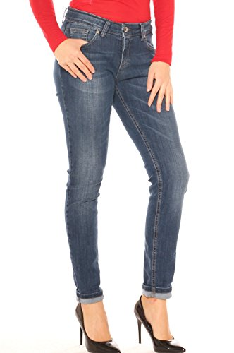 Jeans skinny donna in denim cotone stretch stonewashed Jeans