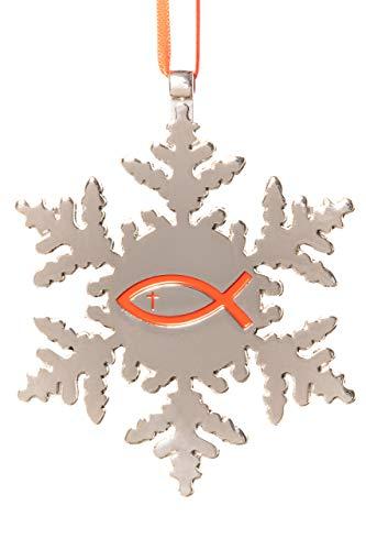 Collegiate Pulse Jesus Fisch Kreuz Schneeflocke Weihnachten Ornament (Der Ornamente Weihnachten In Masse)