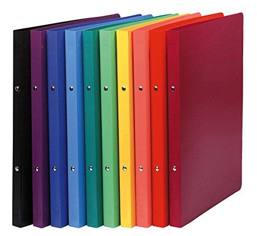 Exacompta 54199E Ringbuch (PP, DIN A4, blickdicht, 2 Ringe, Rücken 20mm) 20 Stück zufällige farbe