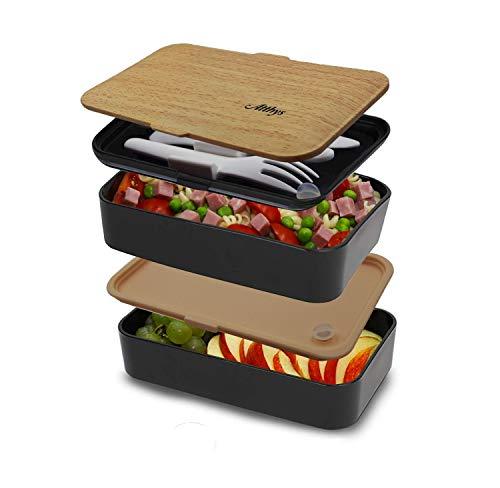 Bento Box Atthys 1200 ml mit Besteck: Gabel/Messer/Löffel. Für die Mikrowelle und die Spülmaschine geeignet. Lunchbox mit 2 wasserdichten Fächern, ideal um im Büro, in der Schule oder beim Picknick zu essen. Ohne BPA