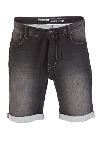 Black Skull Jeans (riverso Herren Sweat Jeans Shorts 'FRED' Sommer Bermuda Sweathose - schwarz - grau - blau - dunkelblau, Größe:W 34, Farbe:Used Black (B22))