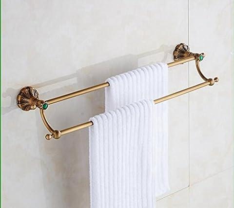 Barre porte-serviettes Porte-serviettes tout en cuivre antique de salle de bain Boutique Pendentif matériel de salle de bain rétro Barre porte-serviettes double barre de serviette de serviette de Porte-serviettes