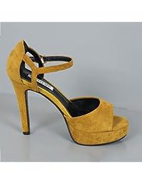 Xue Qiqi design élégant et simple des talons hauts chaussures femmes avec l'ultra-fine et légère pointe de buse mince vidéo nuit simple service de,35, vert