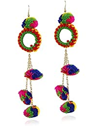 Aradhya Multicolour Glass Hook Dangle Earring for Women