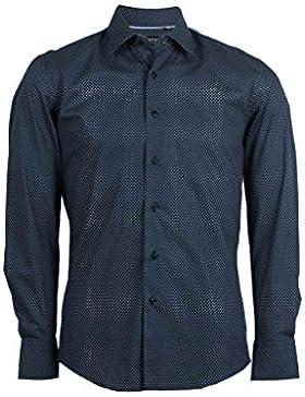 Camicia blu con microfantasia bianca