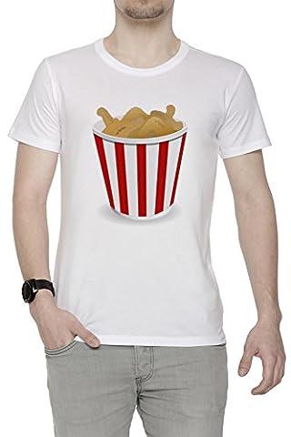 Frit Poulet Homme T-Shirt Cou D'équipage Blanc Manches Courtes Taille