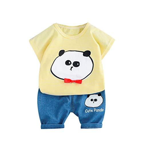 Jungen Kindabnutzung 0-3 Jahre Kleinkind Baby Jungen Bär Print Tops T-Shirt+Süßes Panda Kurze Hosen Casual Outfits Set Kinder 2 Teiliges Set(Gelb,2-3 (Cool Cartoon Zeichen Kostüme)