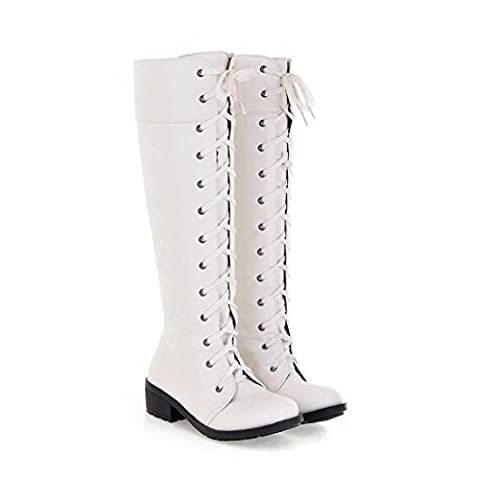 Femmes Knee High Knight Martin Bottes simples New Leisure Round tête Strappy Artificial PU Low Rough Heel Brown Black Fall Winter Outdoor , White , EUR 42/ UK