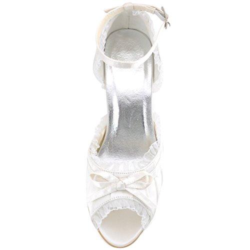 Elegantpark EP2062 Femme Bout Ouvert Bride Cheville Satin Plisse Chaussures De Mariage Mariee Ivoire