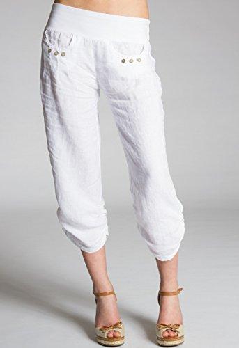 CASPAR KHS017 Pantalon 3/4 boyfriend femme en lin Blanc