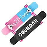Lzx Skateboard Deck leuchtendes Rad Komplette Platte Langes Brett ABEC-11 7-lagiges 80A Ahorn Deck mit robustem Skateboarding mit Doodle-Muster für Einsteiger und Profis,3,NoLight
