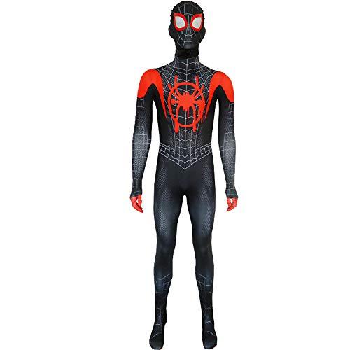 POIUYT Spiderman Anime Kostüm Little Black Spider Kostüm Miles Parallel Universe Spider-Man Strumpfhose Weihnachten Halloween Fancy Iron Spider-Man Kostüm,Adult-M