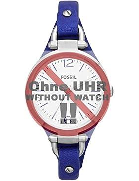 Fossil Uhrband Wechselarmband LB-ES3318 Original Ersatzband ES 3318 Uhrenarmband Leder 8 mm Blau
