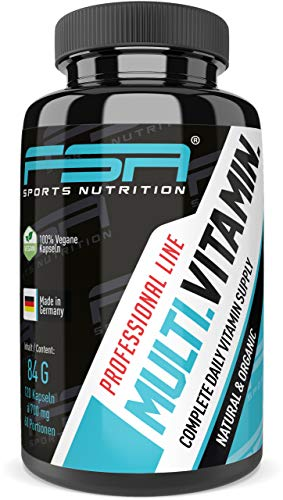 Multivitamin 120 Kapseln, vegan mit Frucht und Gemüsemischung - von der Profisport-Marke FSA Nutrition, Hergestellt in Deutschland