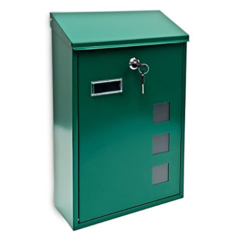 Relaxdays Design Mailbox / Letterbox Metal 4 Colours 3 Viewing Windows 25x40 cm Post Mail Secure, Green