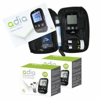 adia Starter-Set inkl. Blutzuckermessgerät [mg/dl] mit 110 Blutzuckerteststreifen – die günstige und einfache Blutzuckermessung!