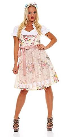 10594 Fashion4Young Dirndl 3 tlg.Trachtenkleid Kleid Mini Bluse Schürze Trachten Oktoberfest (34,