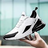 KUDOON Laufschuhe Herren Damen Atmungsaktiv Rutschfeste Mode Sportschuhe Mesh Fitnessschuhe Unisex Weiß Schwarz 43 - 6