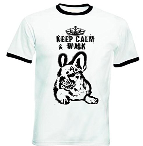 Teesquare1st Men's FRENCH BULLDOG KEEP CALM & WALK PB 35 Black Ringer T-Shirt Size Medium