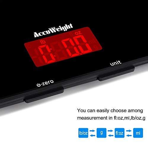 ACCUWEIGHT Bilancia da Cucina Digitale con Alta Precisione, Multifunzionale Bilancia da Cucina Elettronica, Design Liscio Facile da Pulire, LCD Display Retroilluminato, 5kg - 4