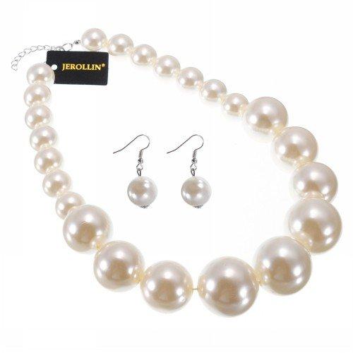 comprare popolare b05c1 7fa82 Jerollin 5 colori Girocollo Donna Ragazze Bigiotteria con grandi orecchini  di perle
