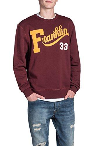 Franklin & Marshall Men's Fleece Round Neck Yellow Sweater 100% Cotton 0656 - BORDEAUX