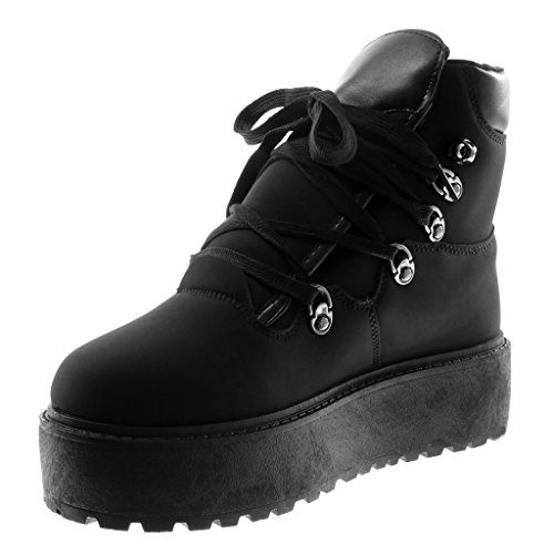 Angkorly Scarpe Moda Sneaker Zeppe Rangers Donna Zip Tacco Tacco Piatto 5 cm Nero