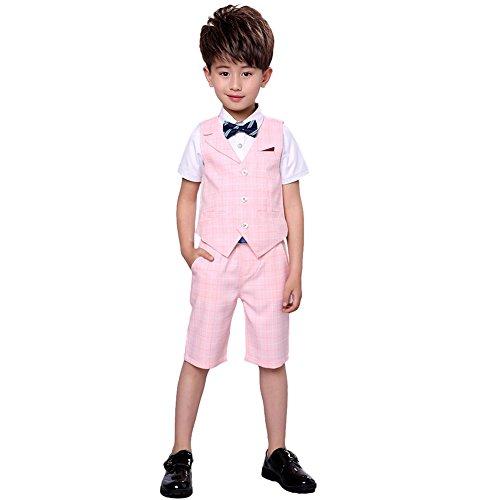 4 Stück Jungen Sommer Hochzeit Freizeit Anzug Weste Shirt Short mit Bowtie (Rosa, 110) Rosa Bowties