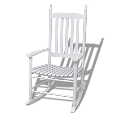 Anself Wood Rocking Chair Relaxer Lounge Chair White Curved Seat