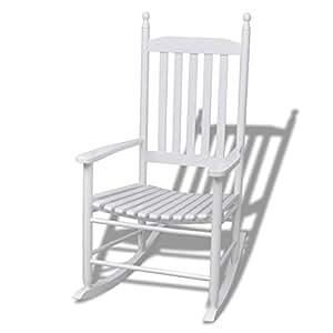 Vidaxl sedia a dondolo in legno bianco linee curve giardino e giardinaggio - Amazon dondolo da giardino ...
