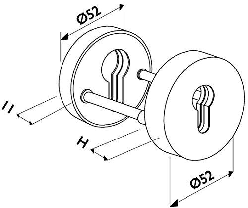 GedoTec® Sicherheitsrosette Schutz-Rosette V2A Edelstahl matt gebürstet | PZ - Profilzylinder | Türrosette für Türstärke 40 mm bis 70 mm | Schutzrosetten-Paar rund für Haustüren & Wohnungseingangstüren | Markenqualität für Ihren Wohnbereich - 5