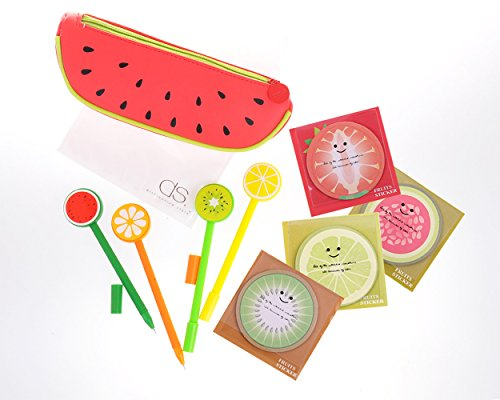 DSstyles Set of 9 Fruit Shaped Cute Design Stationery Set with Pencil Case Bag Gel Ink Pens Sticky Notes for School, Office and Family Use - Set A
