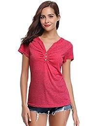 Tee Shirt Femme Col V Stretch Haut Femme Bouton Manches Courtes Décolleté  Été Sport Top Chic 3d695ecf30c9