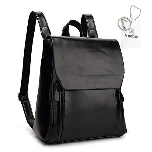 Yoome Vintage Magnetic Snap zaino donna zaino in pelle scuola college bag tracolla nera