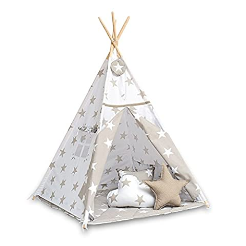 Teepee tent with floor mat and pillows - Bright Beige