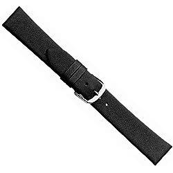 Herzog Design I Ersatzband Uhrenarmband Kalbsleder Band Schwarz 20492S, Stegbreite:26mm