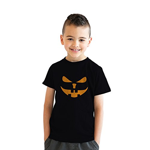 Crazy Dog Tshirts - Youth Buck Teeth Pumpkin Face Funny Fall Halloween Spooky T Shirt (Black) L - Jungen - L