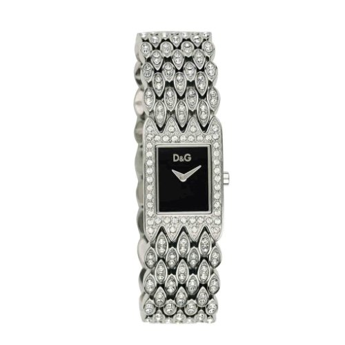 Women's Quartz Watch d & g Dolce & Gabbana Dial Analogue Display Silver Stainless Steel Strap and Black Dial DW 0076
