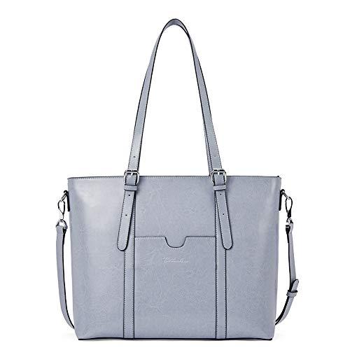 Damen-designer-laptop-tasche Tote (BOSTANTEN Damen Ledertaschen Schultertasche Frauen Designer Handtasche 14 15.6 Zoll Laptoptasche Tote Bag Hellblau)