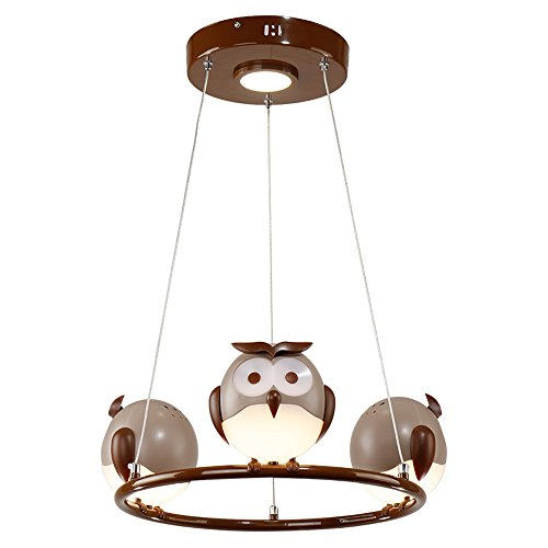 Runde Kronleuchter des Augenschutz-LED, Mode-netter Junge Mädchen-Kindeisen-Eule, die dekorative Deckenlampen moderne minimalistische Wohnzimmer-Studie-Speisetisch-Pendelleuchte beleuchtet -